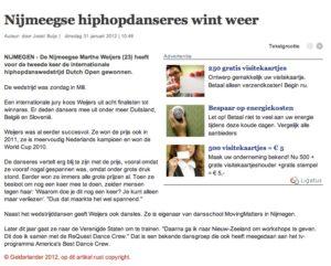 Artikel Gelderlander Dutch Open 2012
