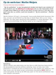 Artikel Op De Werkvloer, Marthe Weijers, dansen leren
