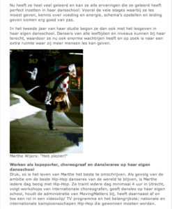 Artikel Op De Werkvloer, dansen leren, dansschool Nijmegen