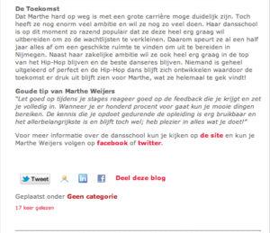Danswedstrijd, student Marthe Weijers HAN Nijmegen, wint Dutch Open, interview