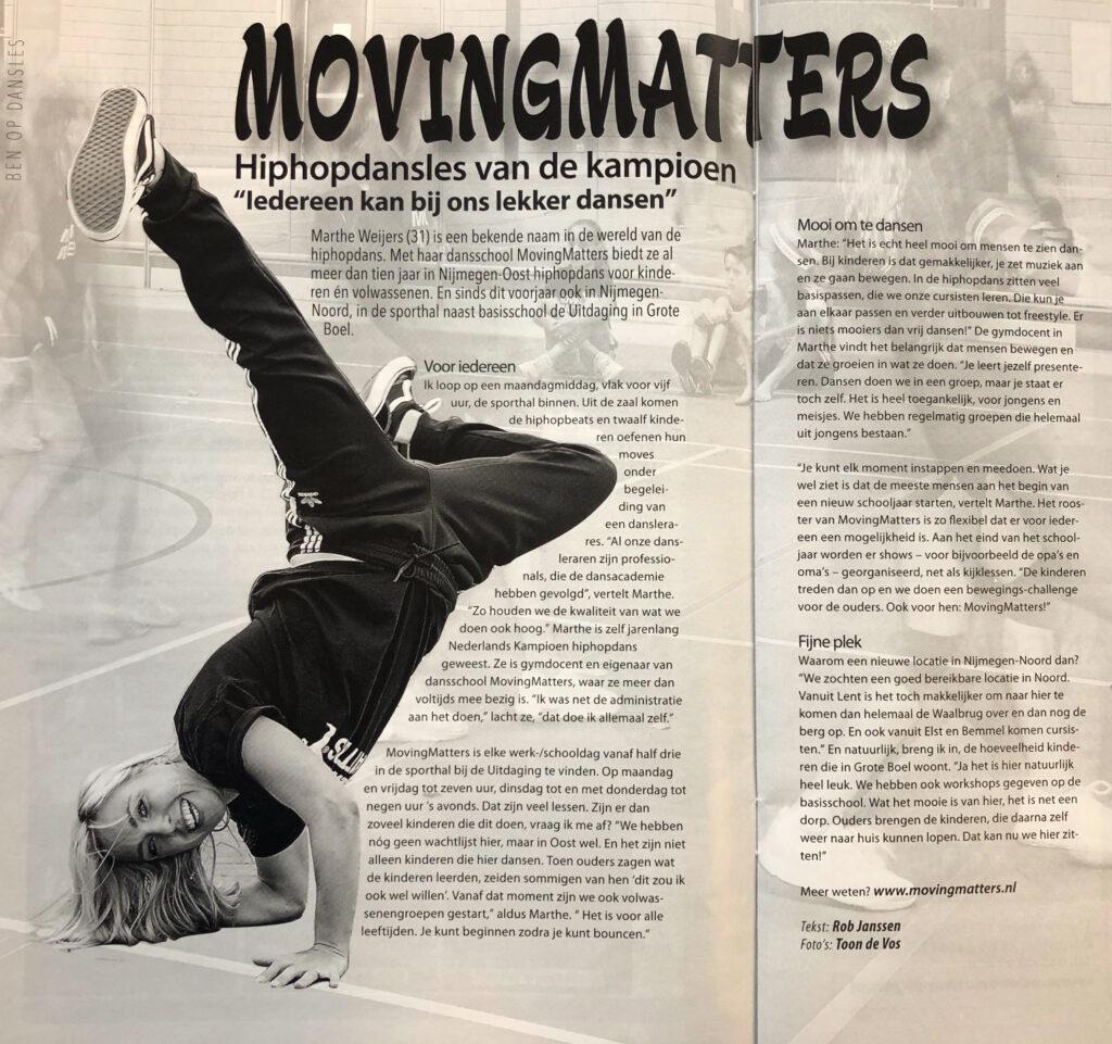 MovingMatters in Nijmegen Noord artikel BEN er weer Nijmegen Noord online Elst Bemmel Oosterhout, Arnhem Hip Hop dansschool AFRO Toon de vos foto krantenartikel beroemde danseres
